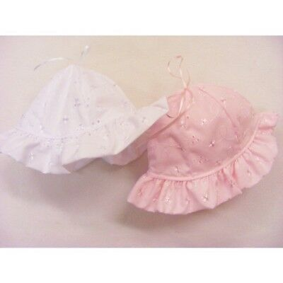 UK Made Baby Girls Spanish Style Romany Broderie Anglaise Sun Hat Beanie Bonnet