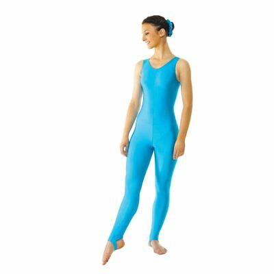 Sleeveless Nylon Lycra Catsuit Plain Front & Stirrup Foot (7 Colours)