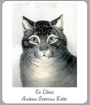 Personalized Ex Libris Bookplate With a Vintage Cat Image FREE Shipping