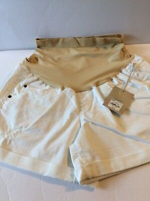 NEW! Maternity A:glow Belly Panel Cuffed Jean Shorts ~ White ~ Size 16 ~ Comfy!