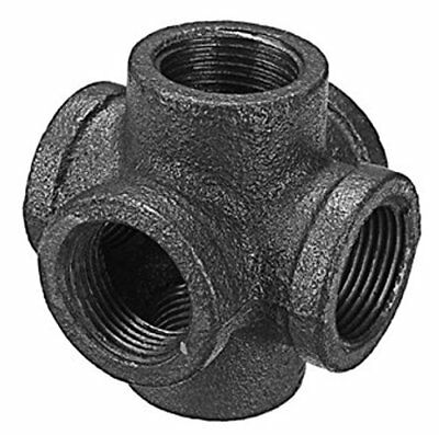 "1/2"" 6 Way 6-Way CROSS TEE BLACK MALLEABLE IRON fitting pipe npt Decor Style"