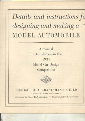 1937 Fisher Body Craftsman's Guild Automobile Model FIRST YEAR Brochure wz3242