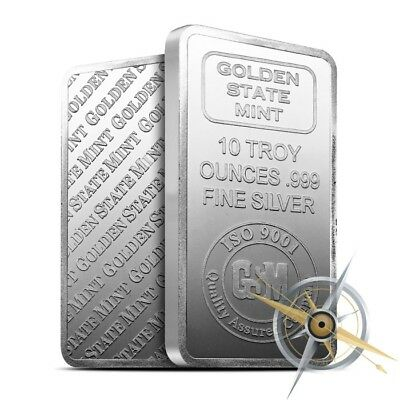 10 oz Golden State Mint .999 Fine Silver Bar/Ingot - Brand New