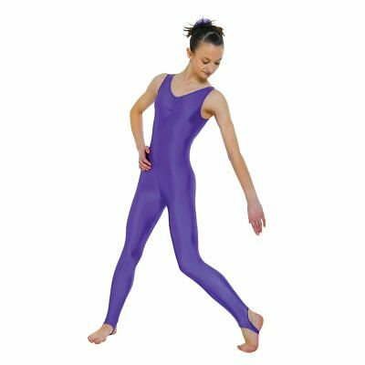 Sleeveless Nylon Lycra Catsuit With Ruched Front & Stirrup Foot (7 Colours)