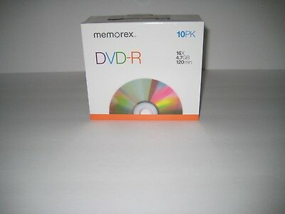 MEMOREX 10 PACK DVD-R 16X/4.7GB GO/120 MIN BRAND NEW DISCs AND CASES