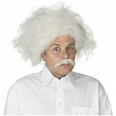 Albert Einstein Wig Mustache Adult Mad Scientist Costume Halloween Fancy Dress