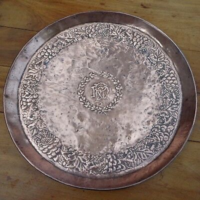 Antique Copper Tray Arts & Crafts Repousse Vine & Laurel Pat Monogram HMP c 1895