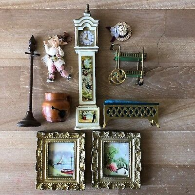 Group of 9 Dollhouse Collectible Grandfather Clock, Pixie Tea Cart Paintings etc