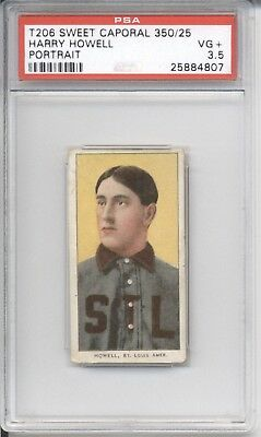 1909-1911 Sweet Caporal HARRY HOWELL PSA VG+ 3.5 Cigarette Baseball Card T206