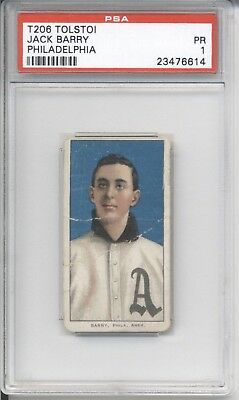 1909-1911 Tolstoi JACK BARRY PSA 1 PR Cigarette Baseball Card T206