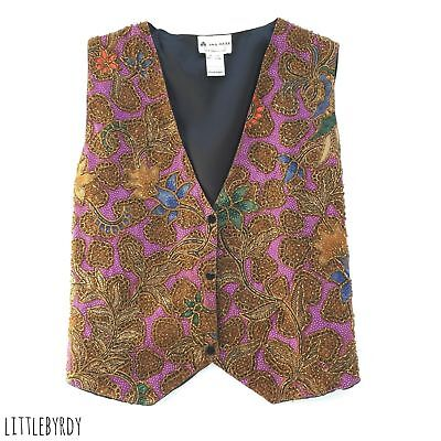 Vintage 1980's Beaded Vest - Paisley Design, Gold Beads - One Size Fits Most