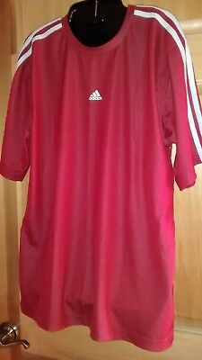 Adidas Mens T Shirt Athletic Top M Red Silver ClimaLite Short Sleeve Soccer Tee