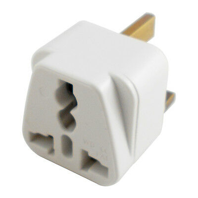 Universal White Adapter AU EU Euro USA to UK Britain Travel Power Converter Plug
