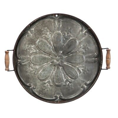 Farmhouse Large Vintage Distressed Embossed  Round  Metal Tray Wall Decor 28""