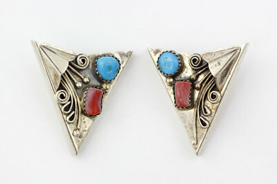 Vintage Navajo Older Sterling Silver, Turquoise & Coral Collar Tips