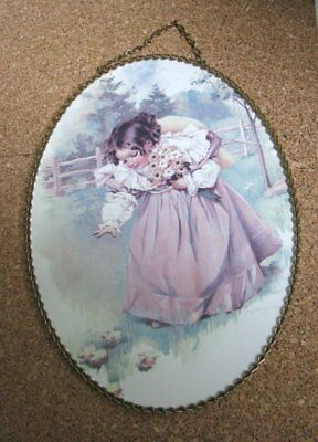 Maud Humphrey Bogart - Oval framed vintage print Baby Nan in the Country