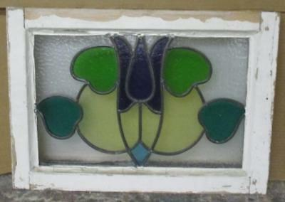 "OLD ENGLISH LEADED STAINED GLASS WINDOW Pretty Floral Abstract 19.75"" x 14"""