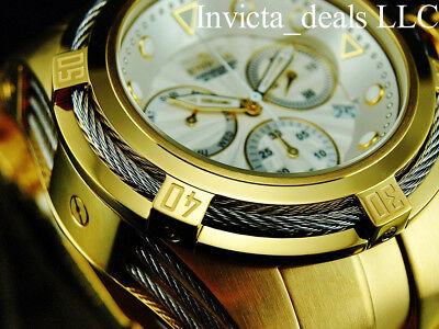 Invicta 52mm Men's Bolt Zeus Swiss Chronograph Silver Dial Gold Tone SS Watch