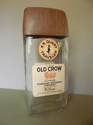 Vintage Old Crow 86 Proof 4/5 Quart Traveler Clear Whisky Bottle - Empty