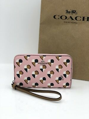 NWT Coach F25963 Zip Around Phone Wallet Wristlet Canvas Heart Blush Multi $165