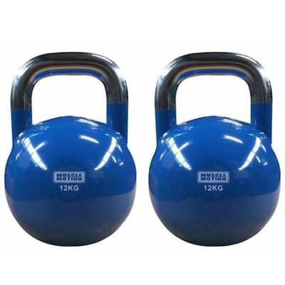 Pair of 12KG Competition Kettlebells - Blue