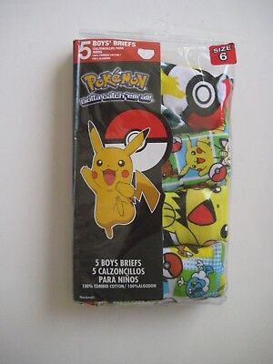 PokeMoN Gotta catch'em all! 5 BOYS' BRIEFS SIZE 6 Retail $15