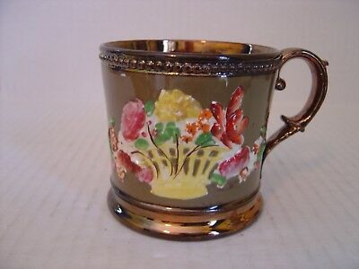 "Viintage Copper And Green Lusterware Mug With Embossed Flowers 3"" High"