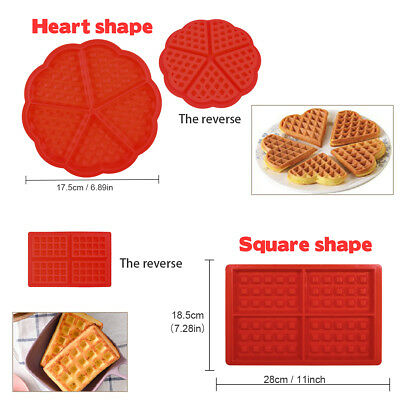 2 Style Heart Waffle Flexible Silicone Mold Ice Cube Candy
