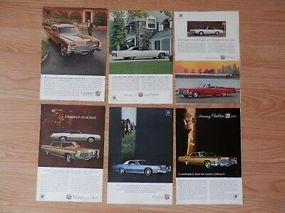 Lot of 6 Vintage 1960's Print Ads, Cadillac Cars