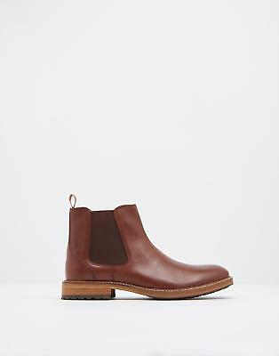 Joules Chelton Mens Chelsea Leather Boots with Elasticated Gusset in Tan