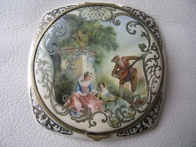 Antique Victorian French Country Couple Scene Gold Trim Celluloid Compact FRANCE