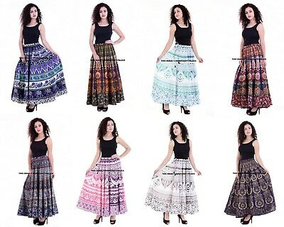 Indian Cotton Mandala Dress Wrap Handmade BOHO HIPPIE BELLY DANCING LONG SKIRT