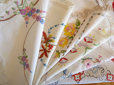 6 GORGEOUS Vintage Hand Embroidered Large Doilies & Table Centres  #11