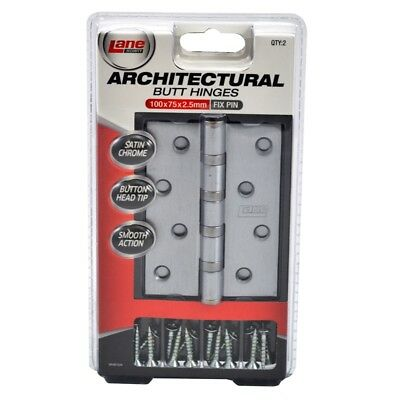 Lane Security Architectural Satin Chrome Fixed Pin Butt Hinge - 2 Pack