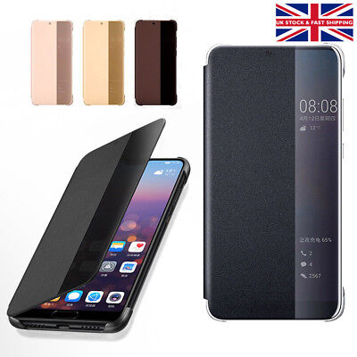 Huawei P20 & Pro Smart View Leather Flip Clear Mirror Protective Hard Case Cover