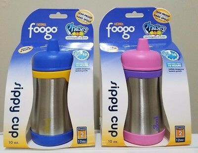 Thermos Foogo Phases 10 oz Leak-Proof Stainless Steel Sippy Cup, Blue & Pink