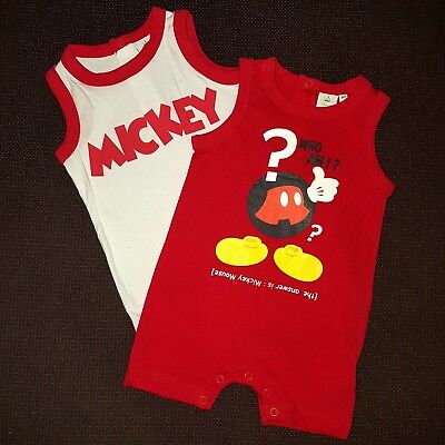 DISNEY lot de 2 barboteuses MICKEY rouge blanc 3 6 9 12 18 ou 23 mois c34e1193de7