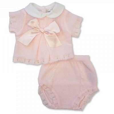 Baby Girls Spanish Style Romany Knitted Two Piece Knitted Outfit Large Satin Bow