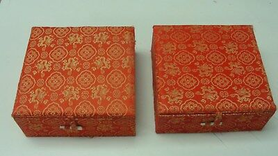 (2) Chinese Carved Stone Stamp Seal W/Red Ink Paste In Red and Gold Silk Box's