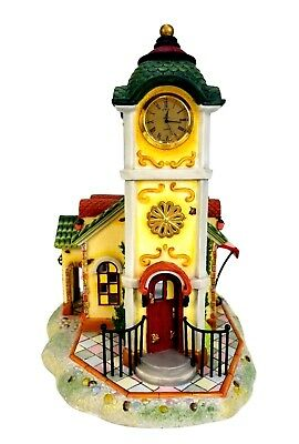 PARTYLITE Olde World Village #4 Clock Tower Tealight House w/Flower Cart P7887