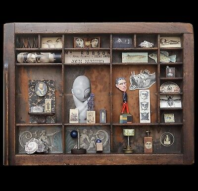 Wall Art Cabinet of Curiosities in Vintage Letterpress Printers Tray