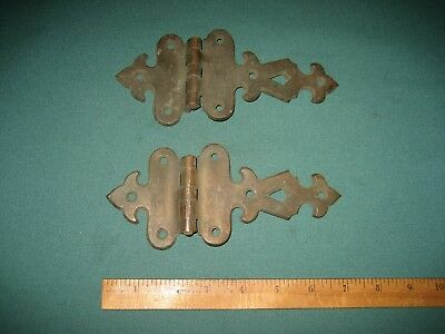 Vintage Old Brass Ice Box Hinges, Offset, Antique Victorian Hardware, very nice