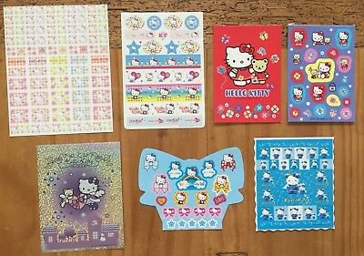 Sanrio Hello Kitty LOT OF 7 Sheets of Stickers!  All Sizes 2001-2005