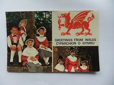 Vintage postcard welsh greetings from llangollen wales 4546 wales postcard of the welsh national costume greetings from m4hsunfo