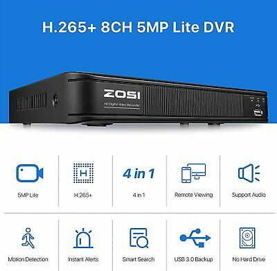 ZOSI HDMI 8CH 1080p DVR CCTV Motion Detection Security surveillance System 0-2TB