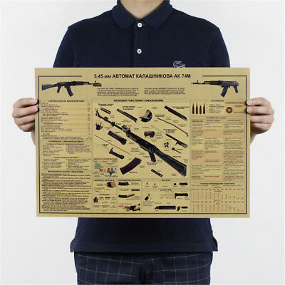 the ak74 gun poster vintage kraft paper posters wall stickers collection bar Pip