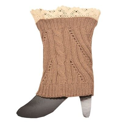 Fashion Knitting Women Brown Ivory Crochet Trim Detail Knit Leg Warmers