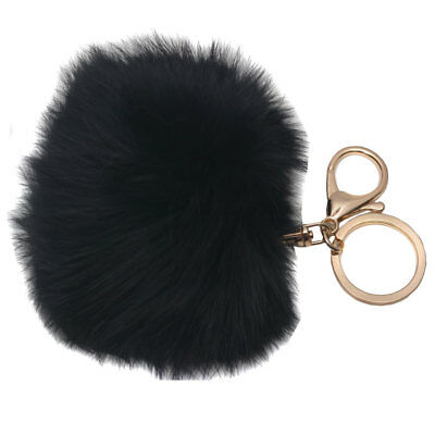 Melie Bianco Girls Black Faux Pom Pom Fluffy Keychain