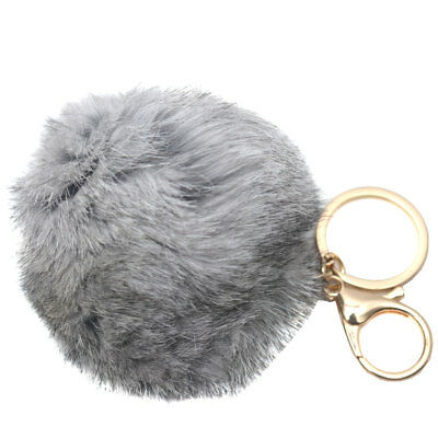 Melie Bianco Girls Gray Faux Pom Pom Soft Keychain
