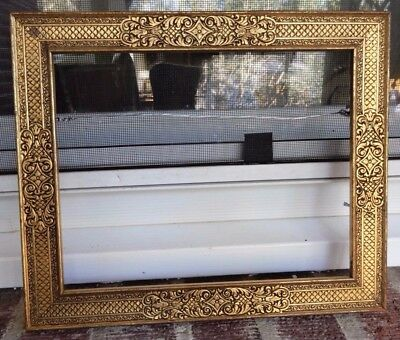 Antique ARTS & CRAFTS Delicate GILT GOLD Carved Wood Picture Frame 7.5 x 9.5 Fit